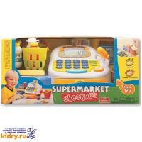 Набор-супермаркет: кассовый аппарат,микрофон ,продукты - свет , звук ( Игрушки, Keenway )