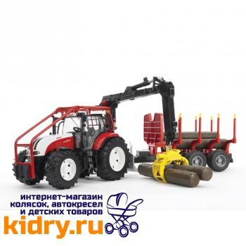 Трактор Steyr CVT 6230 лесной с манипулятором и прицепом с брёвнами