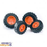 Аксессуары K: Шины для системы сдвоенных колёс с оранжевыми дисками 4шт. (диам задн 12,5см, диам пер