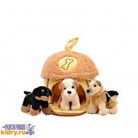 Домик-сумка с 3-мя собачками, 15х16 см ( Игрушки, Gulliver )