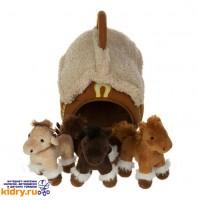 Домик-сумка с 3-мя лошадками, 15х16 см ( Игрушки, Gulliver )