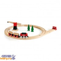 Паровозик с подъемным краном (18 элементов) ( Игрушки, Железные дороги, Деревянная железная дорога BRIO