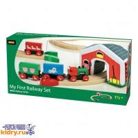 Набор железной дороги Brio Мой Первый Паровозик с мягким туннелем (15 элементов) ( Игрушки, Железные дороги, Деревянная железная дорога BRIO
